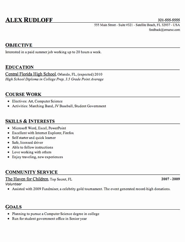 Sample Resume High School Beautiful Sample High School Student Resume Example