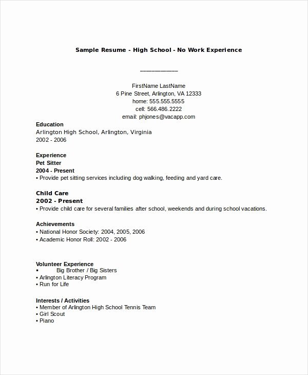 Sample Resume High School Elegant 10 High School Resume Templates Examples Samples format