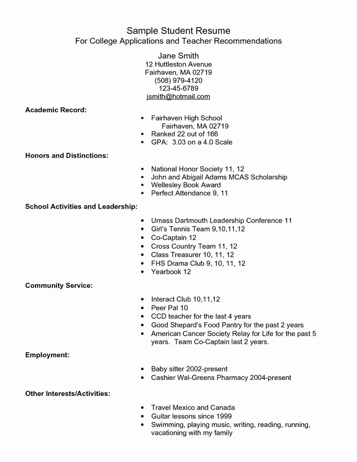 Sample Resume High School Fresh Example Resume for High School Students for College