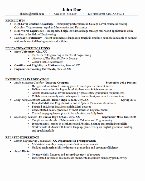 Sample Resume High School Inspirational Junior High School Teacher Resume Example Math and Science