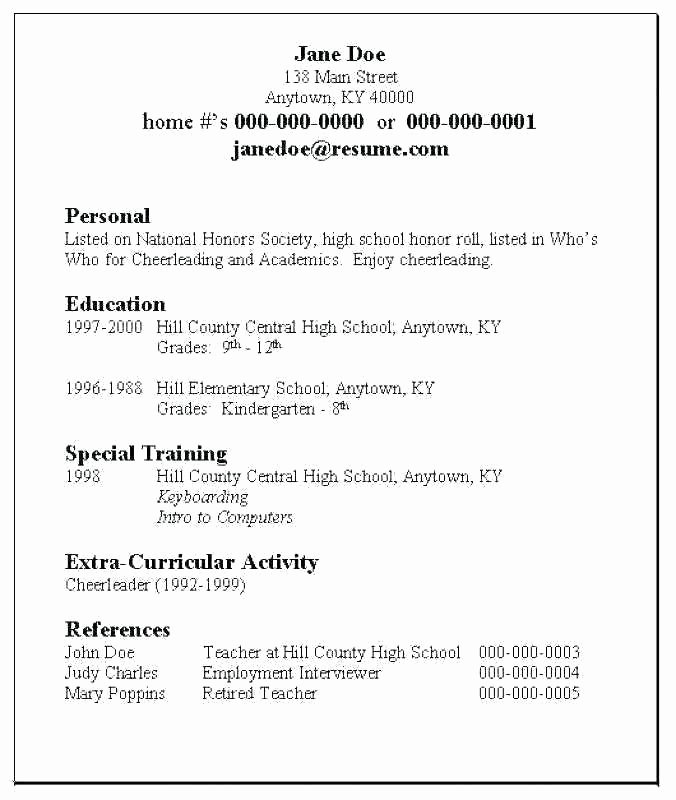 Sample Resume High School Lovely 11 12 College Resume Samples for High School Senior