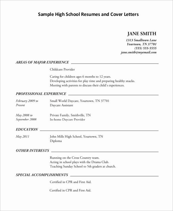 Sample Resume High School New Sample High School Resume 7 Examples In Pdf