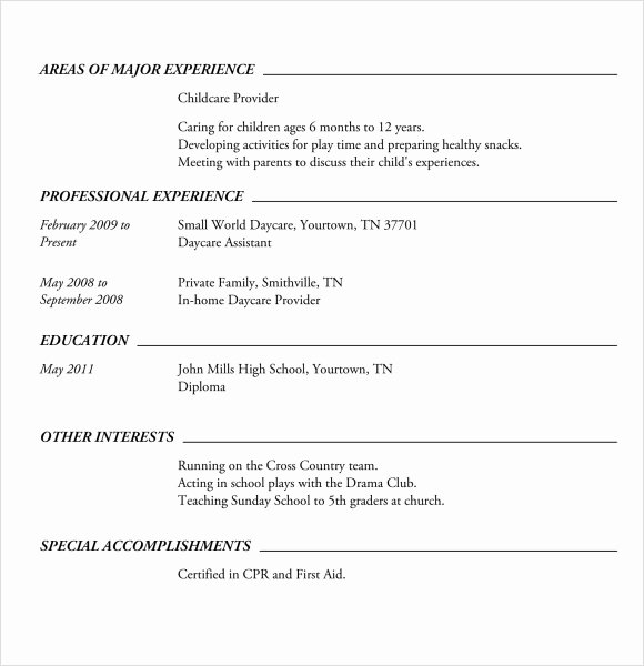 Sample Resume High School New Sample High School Resume Template 6 Free Documents In