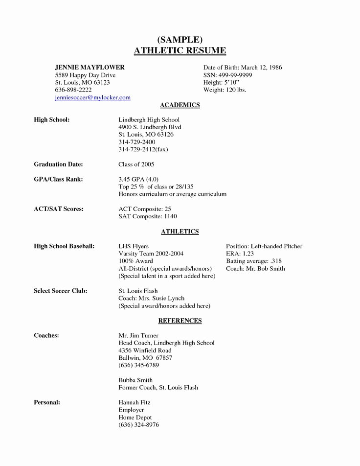 Sample Resume High School Unique High School Senior Resume Sample