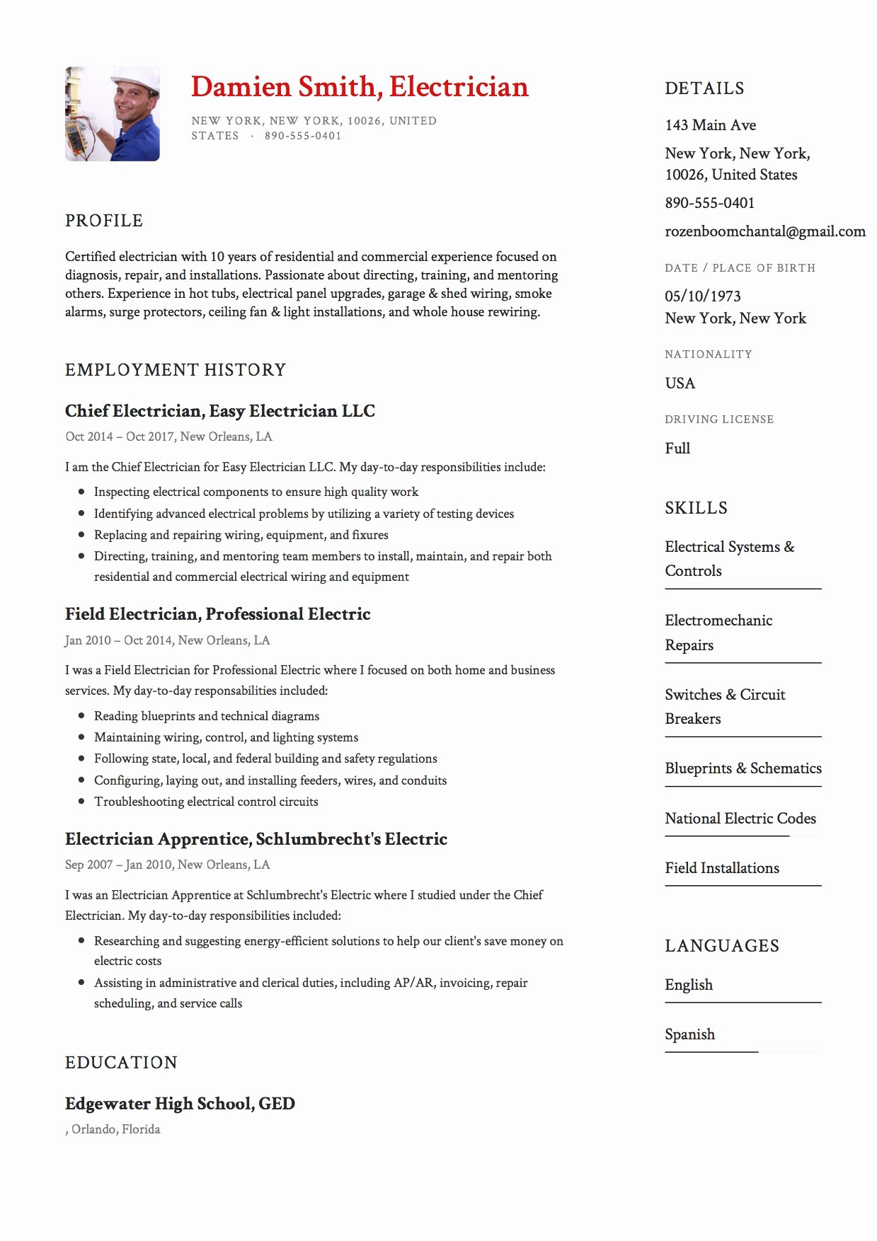 Sample Resumes for Electrician Awesome 12x Free Electrician Resume Template