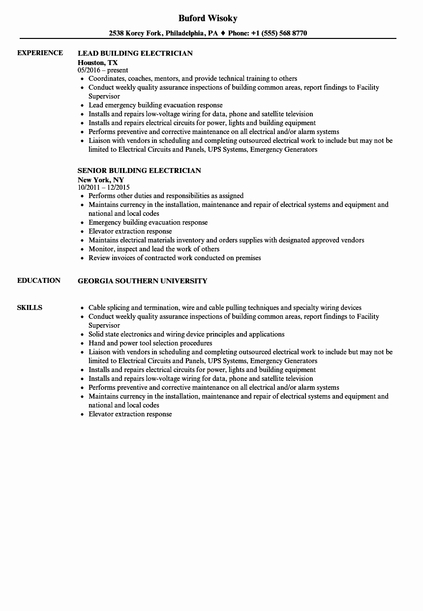 Sample Resumes for Electrician Awesome Building Electrician Resume Samples