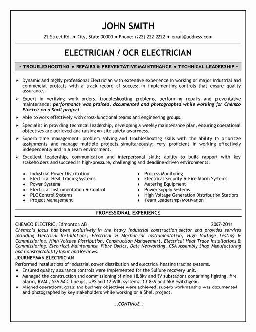 Sample Resumes for Electrician Beautiful 23 Best Images About Trades Resume Templates & Samples On