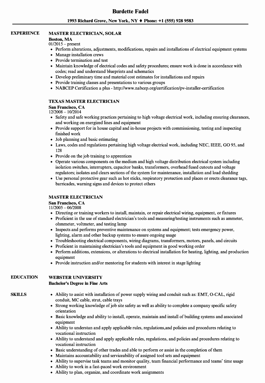 Sample Resumes for Electrician Beautiful Master Electrician Resume Samples
