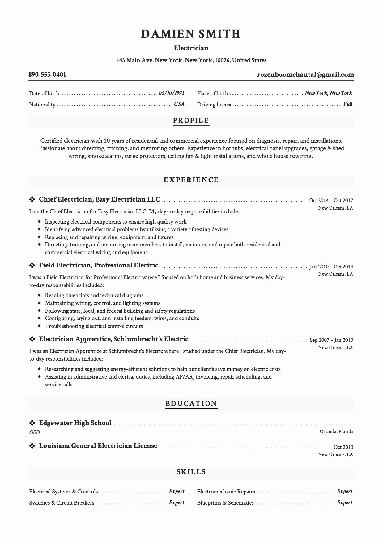 Sample Resumes for Electrician Elegant 12x Free Electrician Resume Template