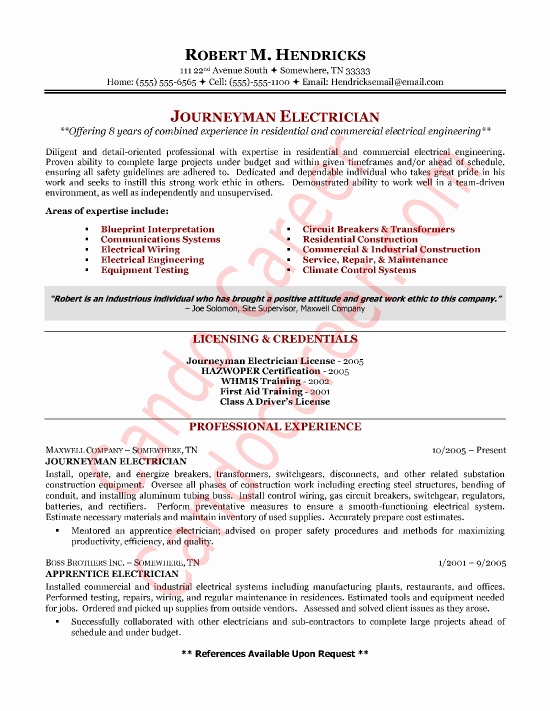 Sample Resumes for Electrician Elegant Electrician Resume Sample by Cando Career Coaching