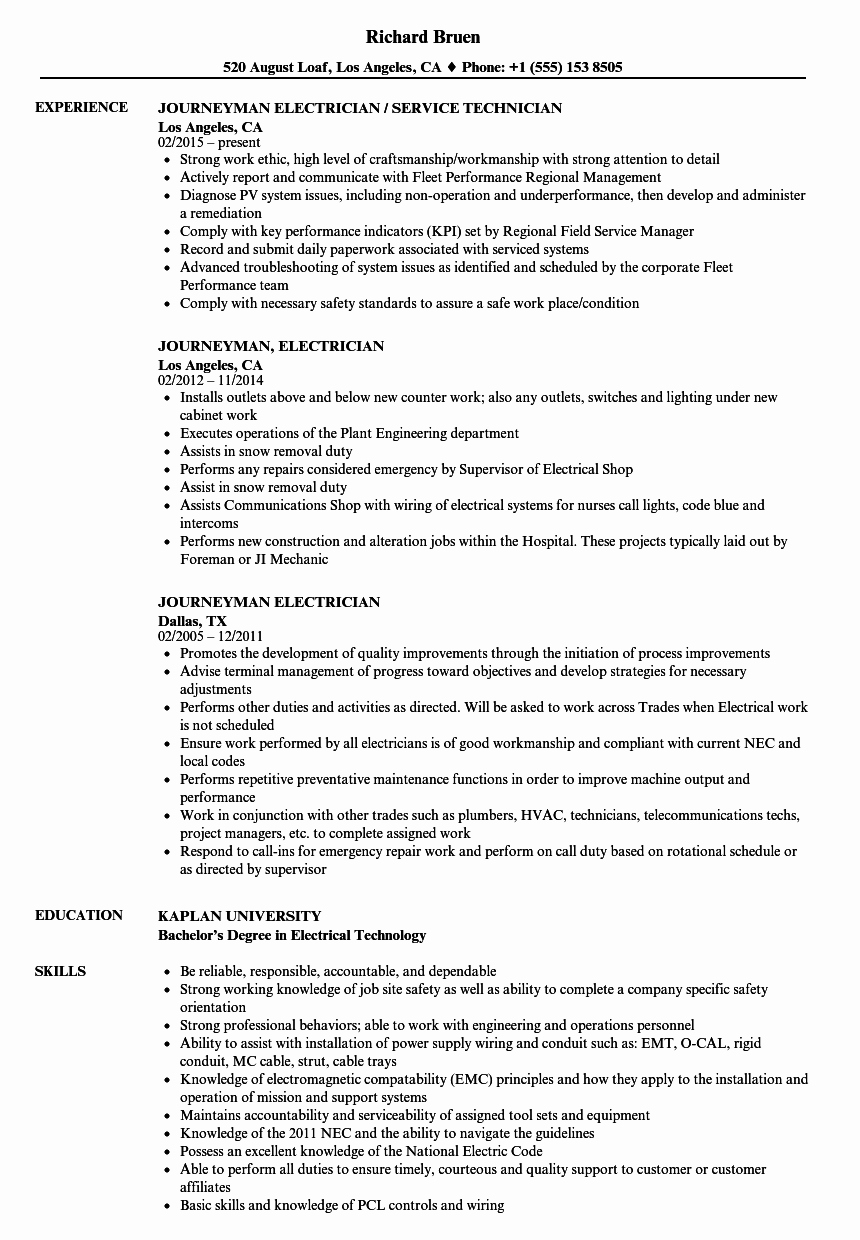 Sample Resumes for Electrician Elegant Journeyman Electrician Resume Samples