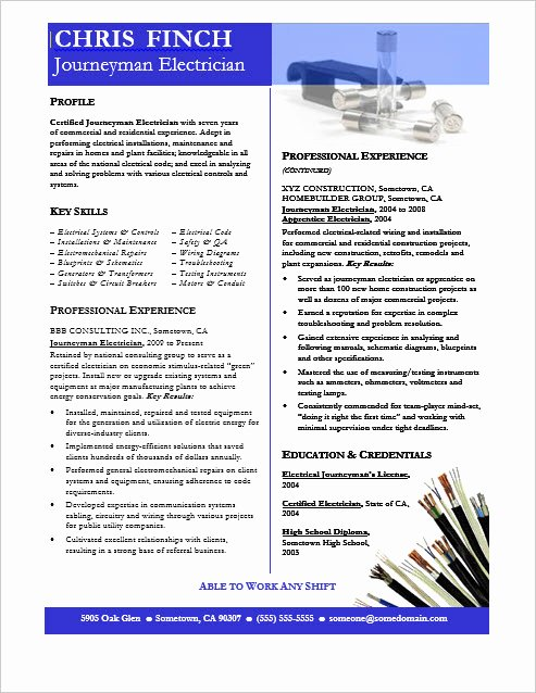 Sample Resumes for Electrician Fresh Journeyman Electrician Resume Sample