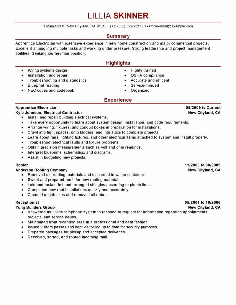 Sample Resumes for Electrician Inspirational Best Apprentice Electrician Resume Example