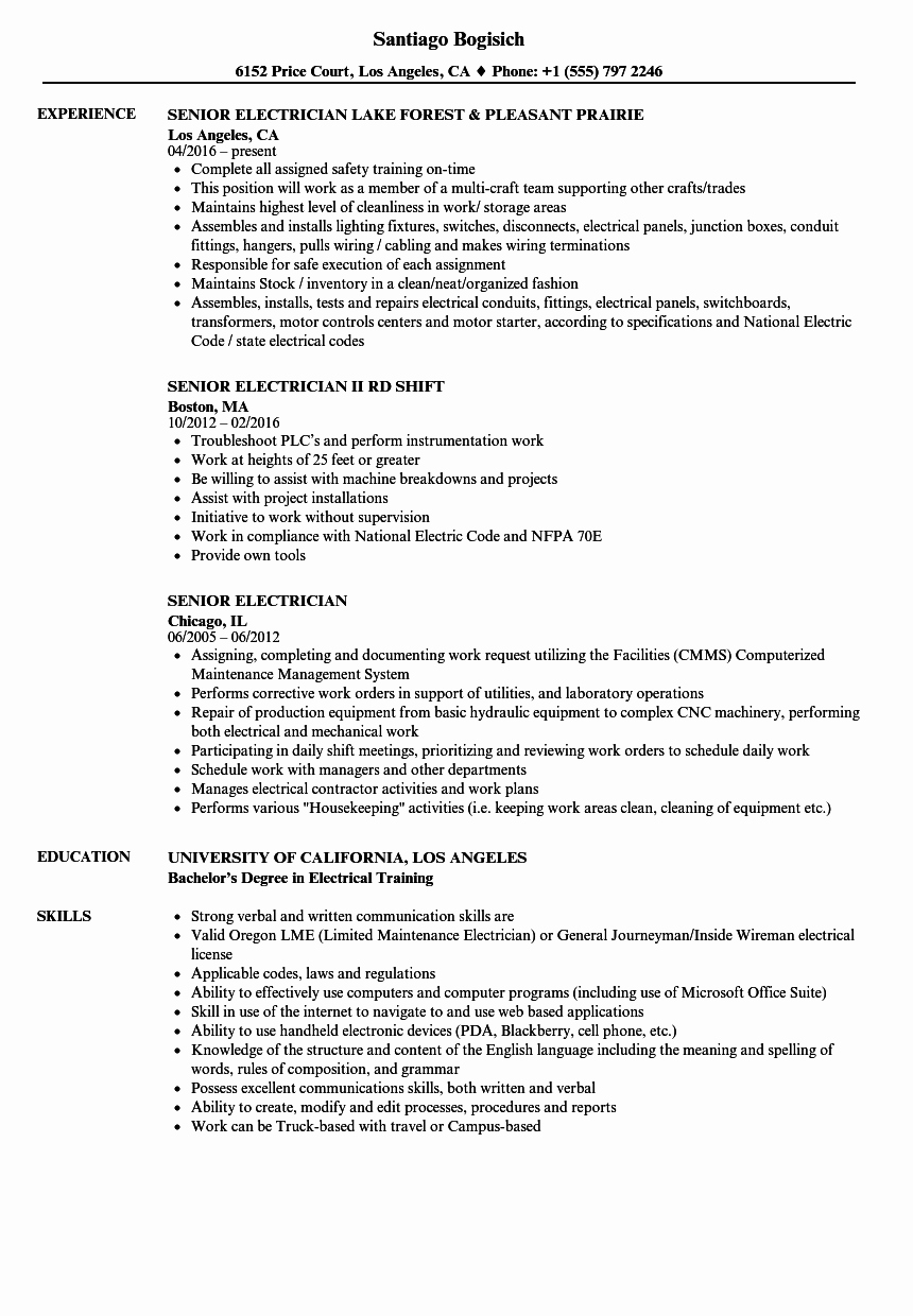 Sample Resumes for Electrician Inspirational Senior Electrician Resume Samples