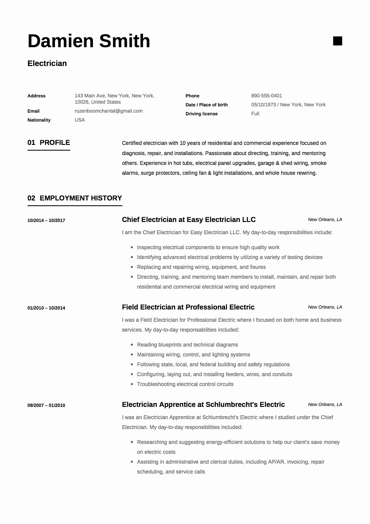 Sample Resumes for Electrician Lovely 12x Free Electrician Resume Template