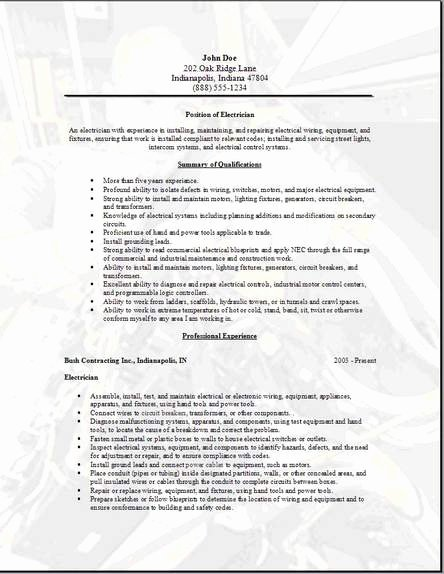 Sample Resumes for Electrician Lovely Electrician Resume Occupational Examples Samples Free