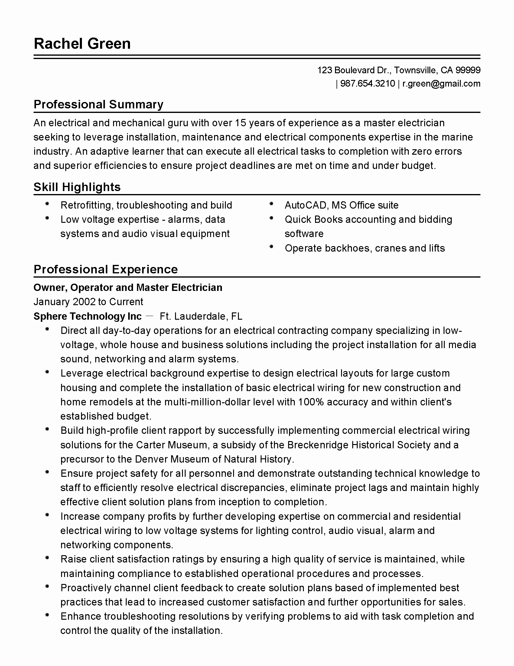 Sample Resumes for Electrician Luxury Professional Master Electrician Templates to Showcase Your