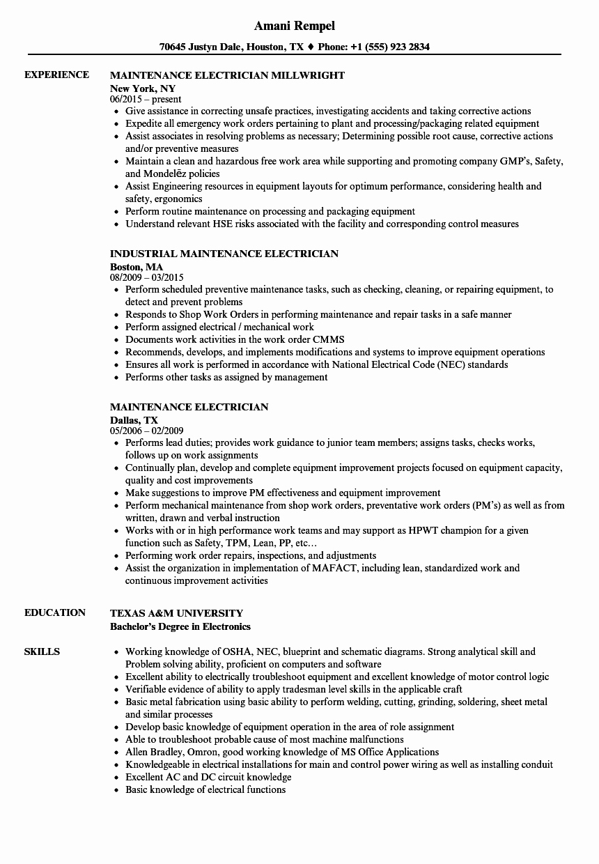 Sample Resumes for Electrician New Maintenance Electrician Resume Samples