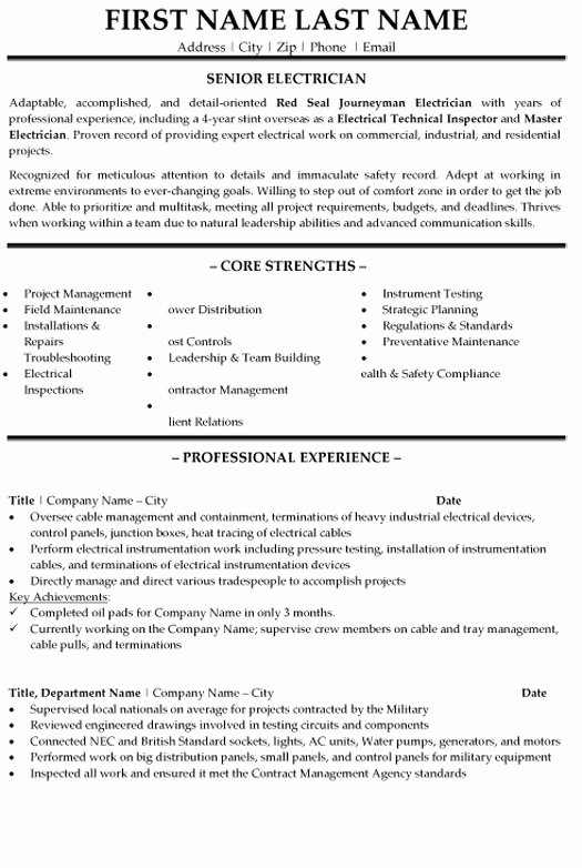 Sample Resumes for Electrician New Senior Electrician Resume Sample & Template