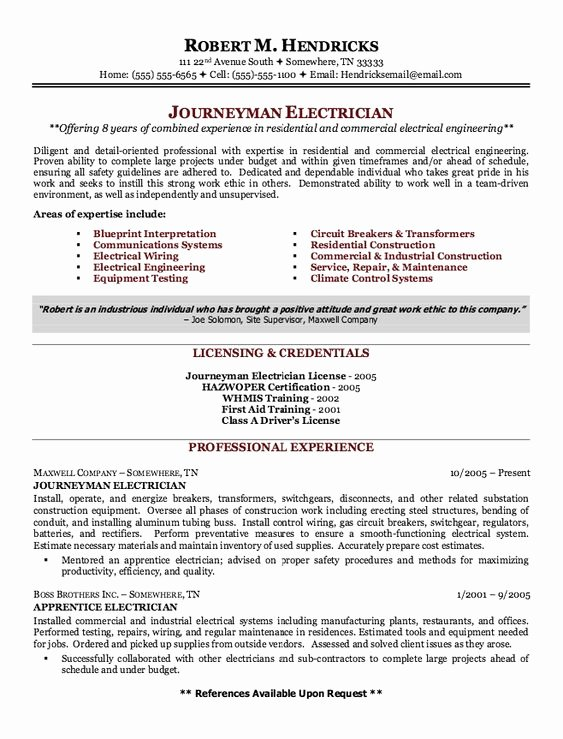 Sample Resumes for Electrician Unique Journeyman Electrician and Resume On Pinterest