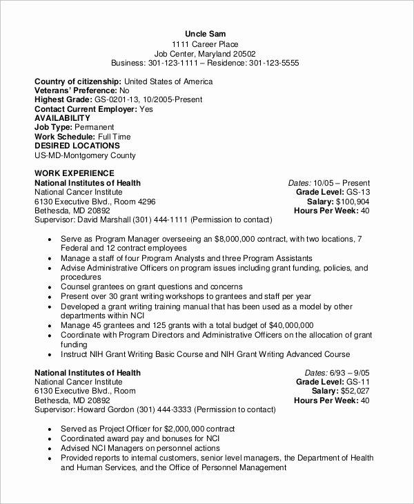 Sample Resumes for Federal Jobs Beautiful Sample Federal Resume 8 Examples In Word Pdf