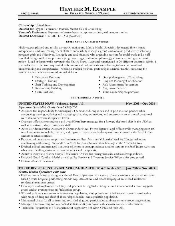 Sample Resumes for Federal Jobs Best Of Resume Samples