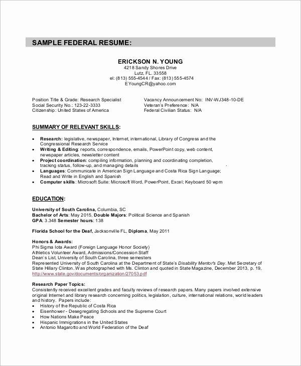 Sample Resumes for Federal Jobs Elegant Sample Federal Resume 8 Examples In Word Pdf