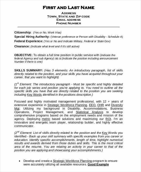 Sample Resumes for Federal Jobs Luxury Federal Resume Template 8 Free Word Excel Pdf format