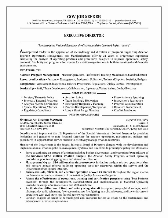 Sample Resumes for Federal Jobs Unique Government Resume Example