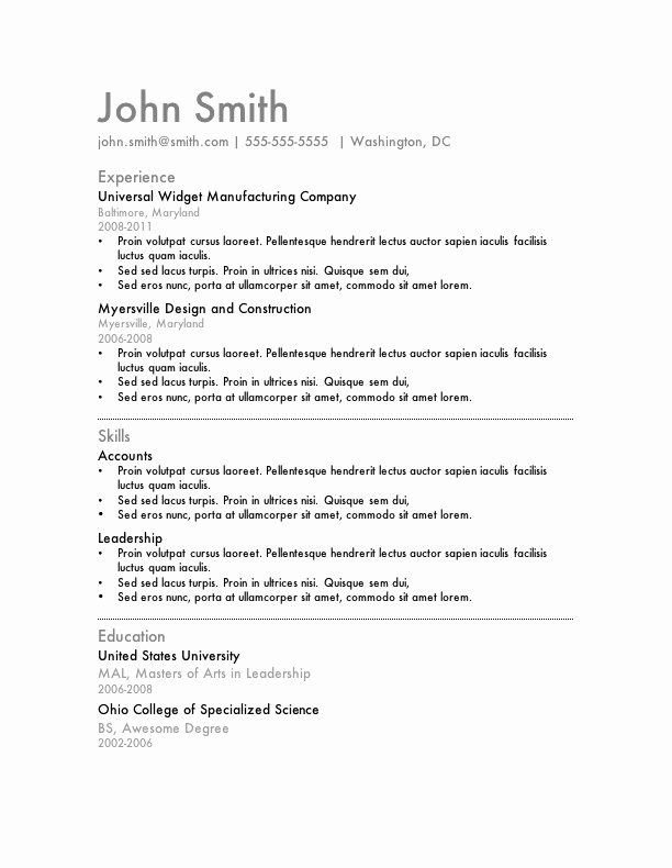 Sample Resumes In Word Fresh My Perfect Resume Templates
