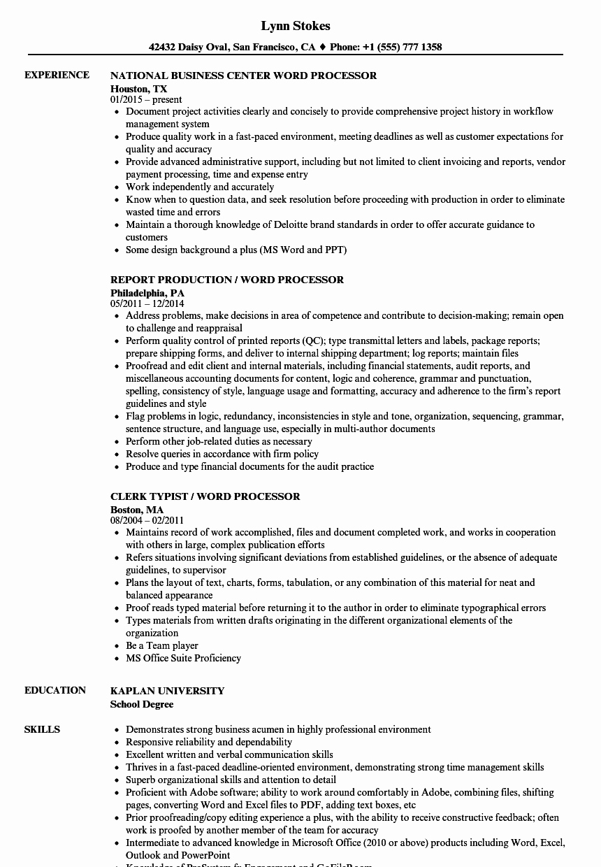 Sample Resumes In Word Inspirational 10 Resume Samples Word Document