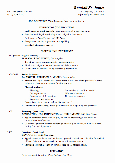 Sample Resumes In Word Luxury Resume Sample Word Processor for Law Firsm