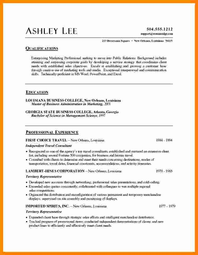 Sample Resumes In Word New 5 Cv Sample format Word