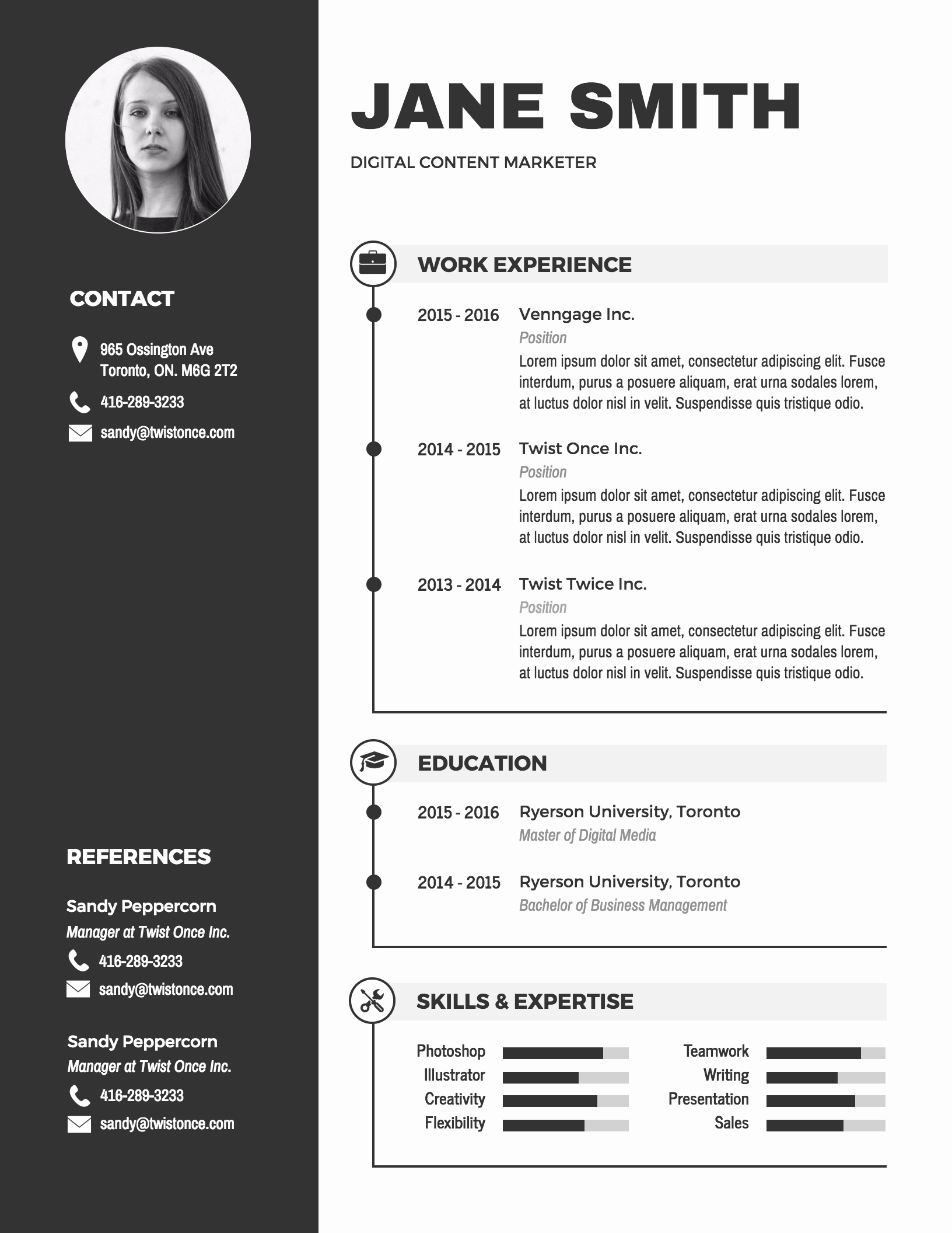 Sample Resumes In Word Unique Infographic Resume Template Venngage
