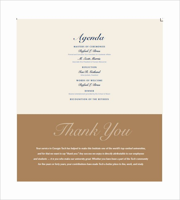 Sample Retirement Party Program Inspirational Party Agenda Template 9 Free Word Excel Pdf format