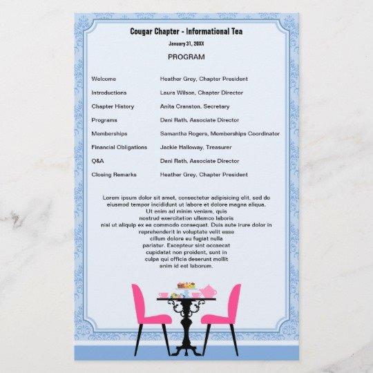 Sample Retirement Party Program Lovely Tea Party Program Template