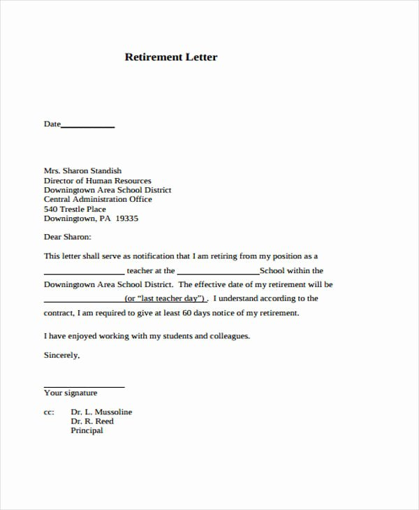 Sample Retirement Resignation Letter Awesome 12 Retirement Resignation Letter Template Free Word