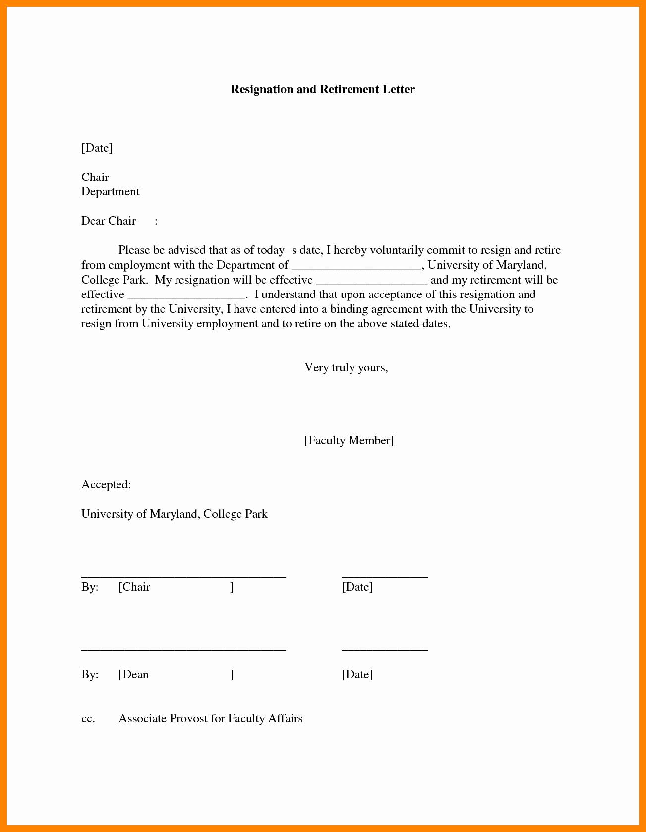 Sample Retirement Resignation Letter Best Of 9 Letter Of Resignation Due to Retirement