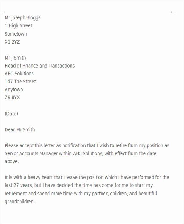 Sample Retirement Resignation Letter Unique 10 Sample Retirement Resignation Letters Pdf Word