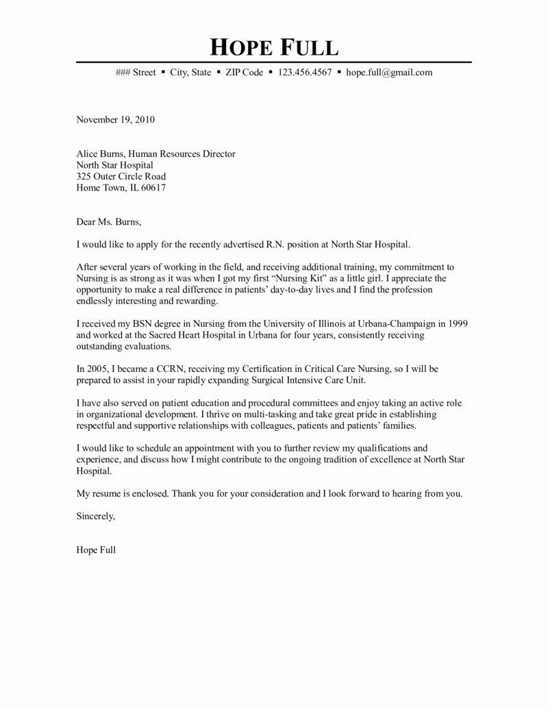 Sample Rn Cover Letter Unique Registered Nurse Cover Letter