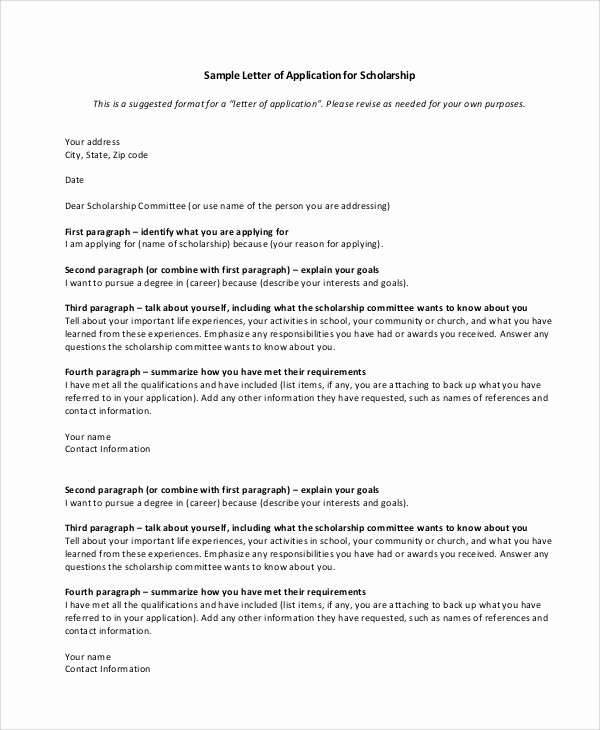Sample Scholarship Application Letter Beautiful 10 Sample Scholarship Application Letters Pdf Doc