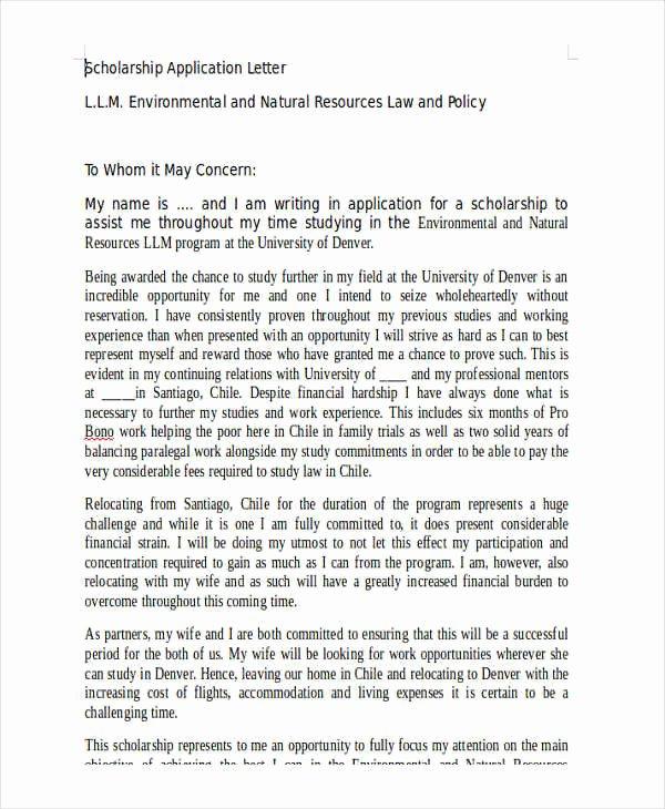 Sample Scholarship Application Letter Beautiful 36 Application Letter Samples