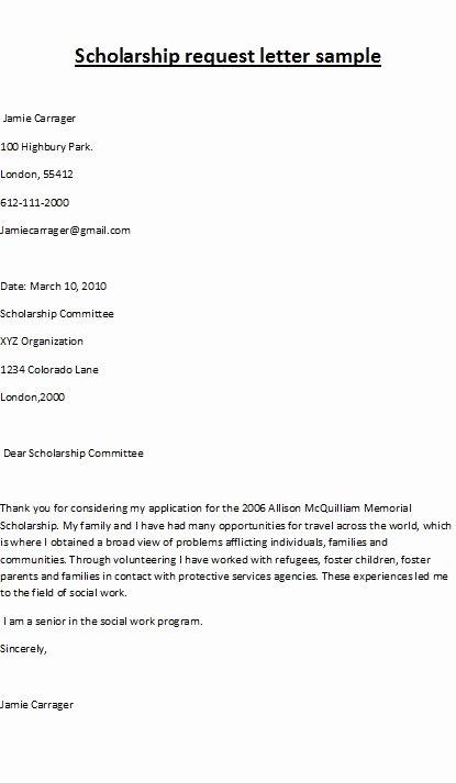 Sample Scholarship Application Letter Best Of Scholarship Letter Samples Scholarship Request Letter Sample