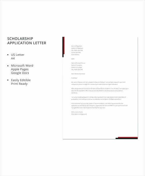 Sample Scholarship Application Letter Luxury 10 Sample Scholarship Application Letters Pdf Doc