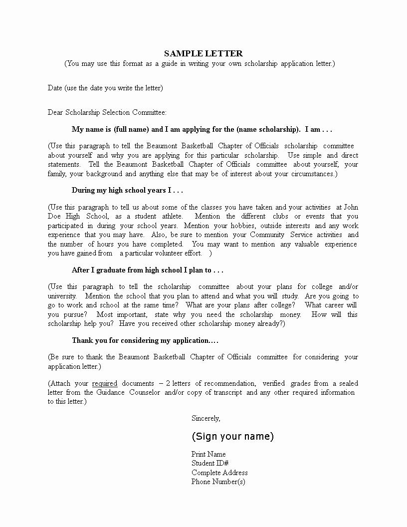 Sample Scholarship Application Letter Luxury College Scholarship Application Letter Sample