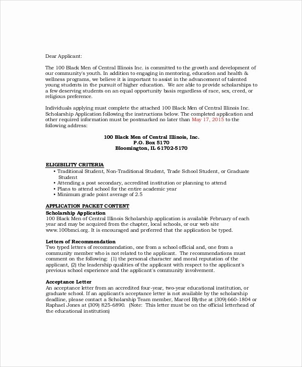 Sample Scholarship Application Letter Luxury Sample Scholarship Acceptance Letter 6 Documents In Pdf