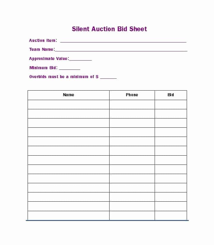 Sample Silent Auction Bid Sheet Beautiful 40 Silent Auction Bid Sheet Templates [word Excel]
