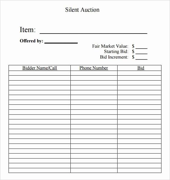 Sample Silent Auction Bid Sheet Beautiful 6 Silent Auction Bid Sheet Templates Free Sample Templates