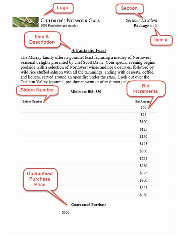 Sample Silent Auction Bid Sheet Beautiful Silent Auction Bid Sheets