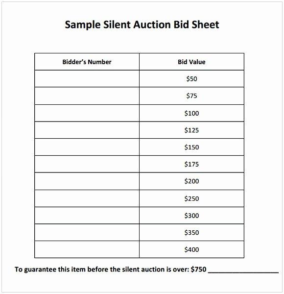 Sample Silent Auction Bid Sheet Best Of Silent Auction Bid Sheet